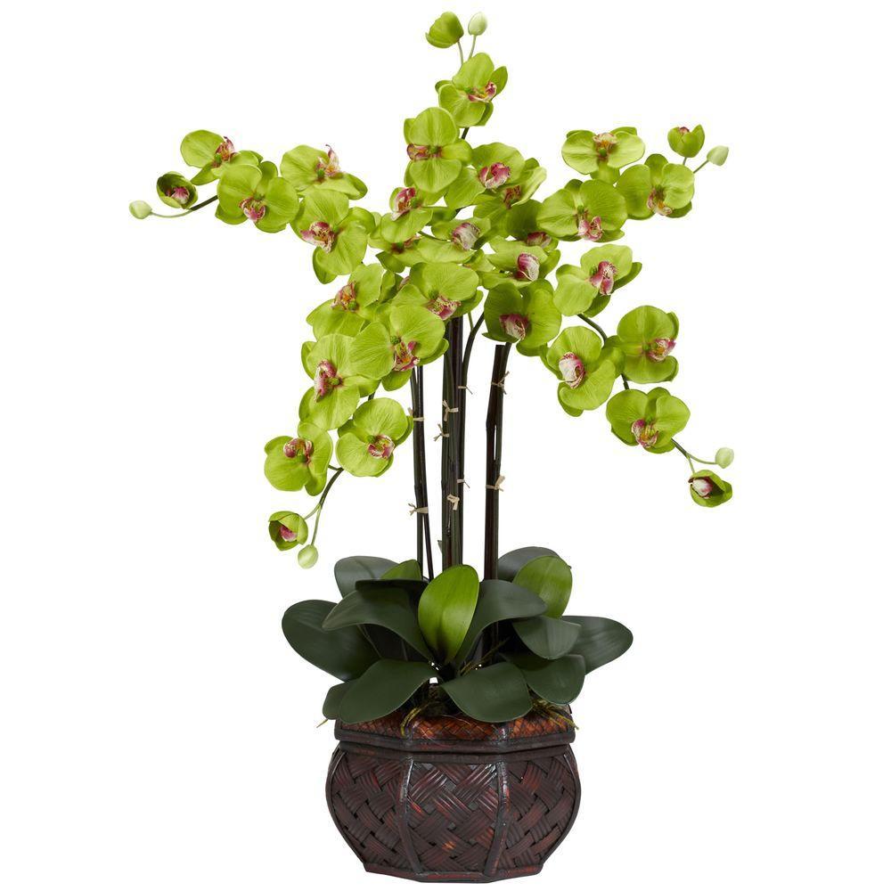 31 In H Green Phalaenopsis With Decorative Vase Silk Flower