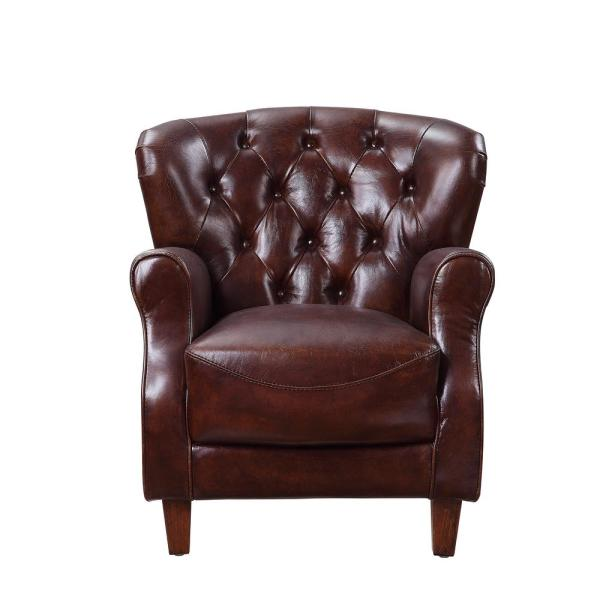 Vintage Brown and Aluminum Brancaster Accent Chair