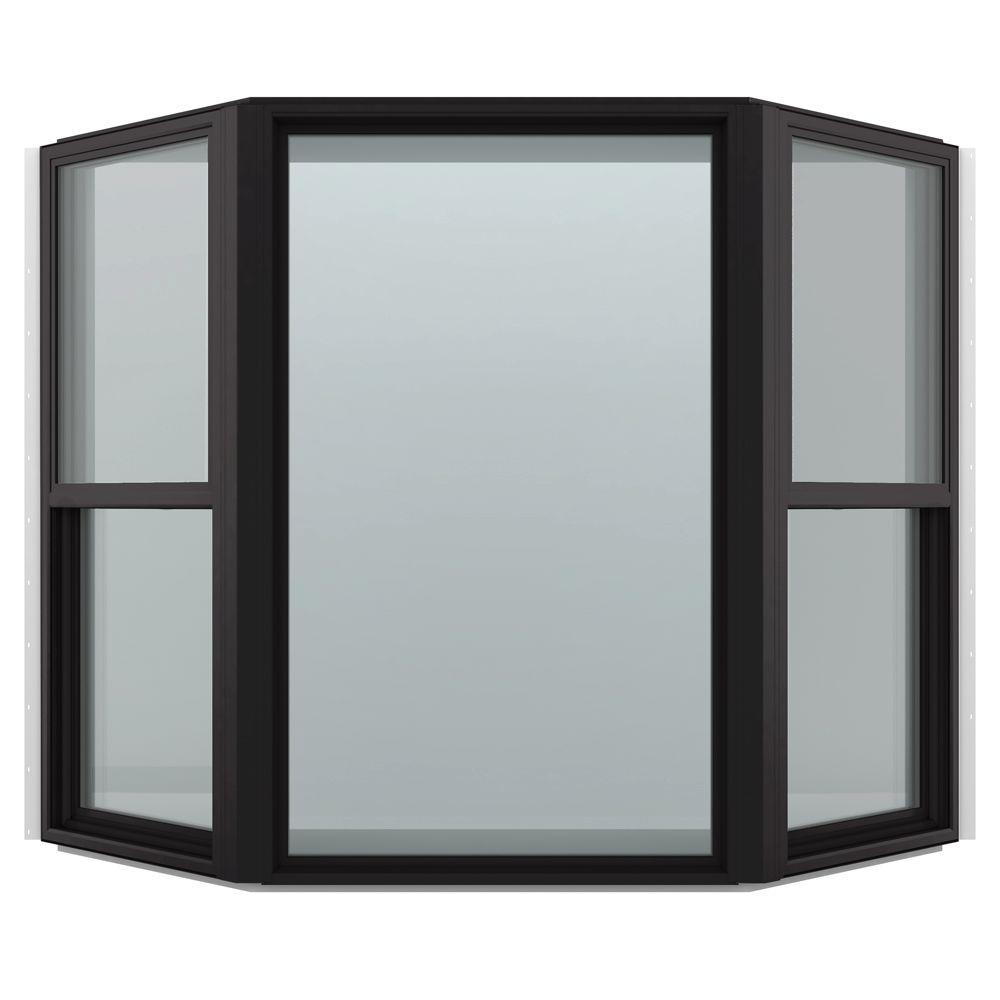 JELD-WEN 74 in. x 43 in. V-4500 Series Black FiniShield Vinyl Bay Window