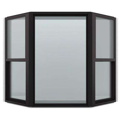 74 in. x 43 in. V-4500 Series Black FiniShield Vinyl Bay Window