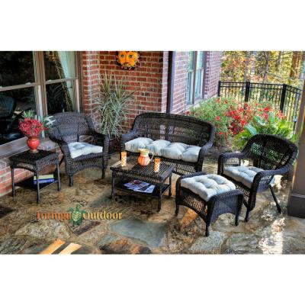 Portside Dark Roast 6-Piece Wicker Patio Seating Set with Sand Cushions