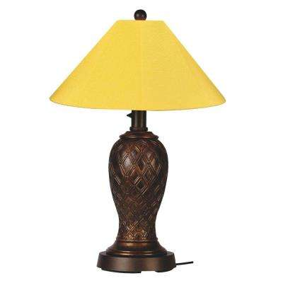 Monterey 34 in. Bronze Outdoor Table Lamp with Buttercup Shade