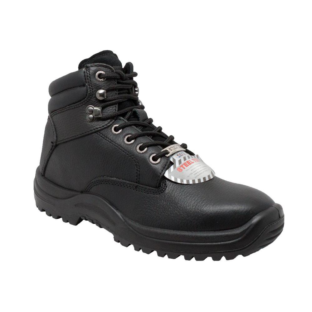 Men's Wide 11 Black Tumbled Leather Steel Toe TPU Work Boot