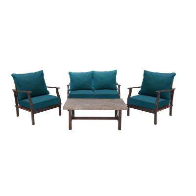 Dayton 4-Piece Aluminum Patio Deep Seating Set with Sunbrella Deep Sea Blue Cushions