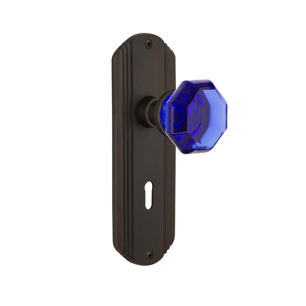 Nostalgic Warehouse Deco Plate with Keyhole 2-3/8 in. Backset Oil-Rubbed Bronze Privacy Bed/Bath Waldorf Cobalt Door Knob