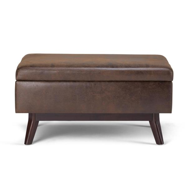 Mid Century Modern Storage Ottoman In Distressed Chestnut Brown Faux Air  Leather