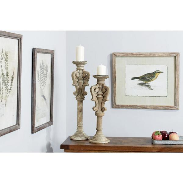 Litton Lane Distressed Beige Carved Wood Candle Holders (Set of 2)