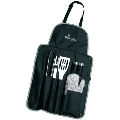 Cubo 9-Piece Barbecue Set with Wrap and Apron