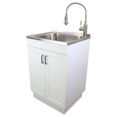 All-in-One 23.6 in. x 19.7 in. x 34.6 in. Particle Board Utility Sink and Cabinet with Faucet and Accessory Kit