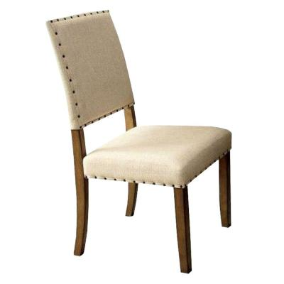 Melston I Industrial 39.5 in. H Natural Tone Finish Side Chair with Ivory Flax Fabric (Set of 2)