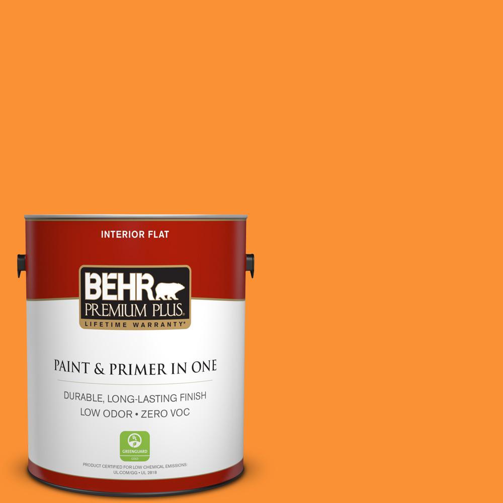 BEHR Premium Plus 1 Gal. #P240 7 Joyful Orange Flat Interior Paint