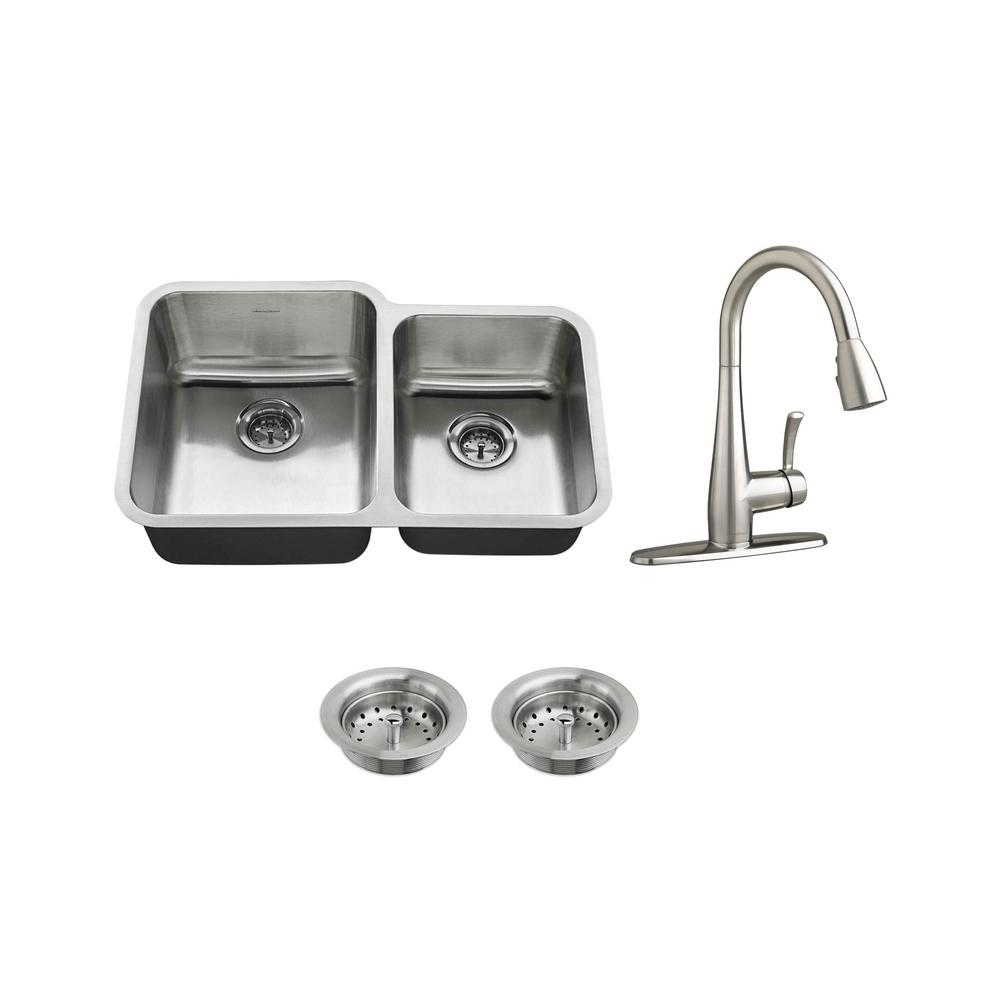 All-in-One Undermount Stainless Steel 31 in. 60/40 Double Bowl Kitchen Sink