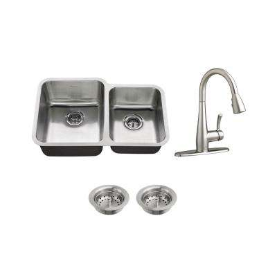All-in-One Undermount Stainless Steel 31 in. 60/40 Double Bowl Kitchen Sink with faucet in Stainless Steel