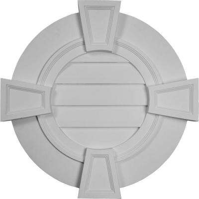 2-1/4 in. x 30 in. x 30 in. Functional Round Gable Vent with Keystones