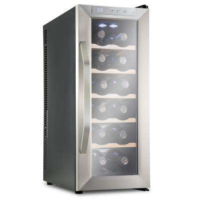 12 Bottle Premium Thermoelectric Freestanding Wine Cooler Fridge Cellar Refrigerator - Stainless Steel with Wood Shelves
