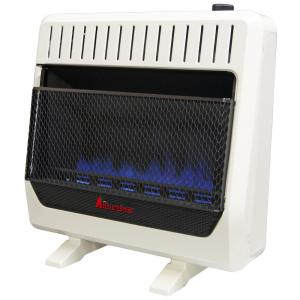 30,000 BTU, Ventless Dual Fuel Blue Flame Heater With Base and Blower, T-Stat Control