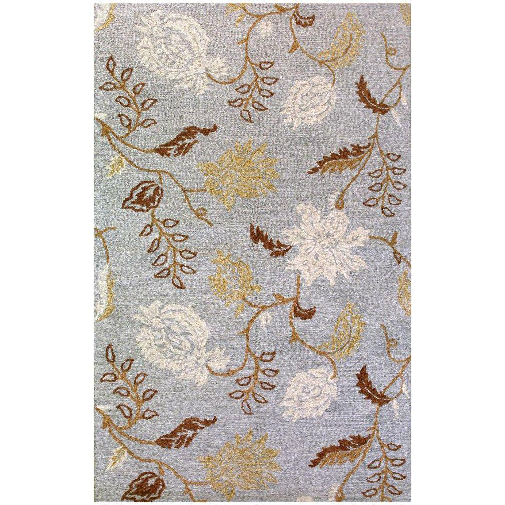 BASHIAN Valencia Collection Subtlety Light Blue 8 ft. 6 in. x 11 ft. 6 in. Area Rug