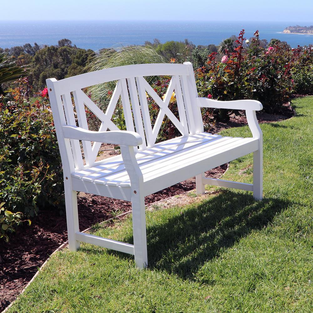 Vifah Bradley Acacia White Cross-Back Patio Bench