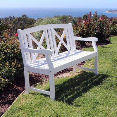 Bradley Acacia White Cross-Back Patio Bench