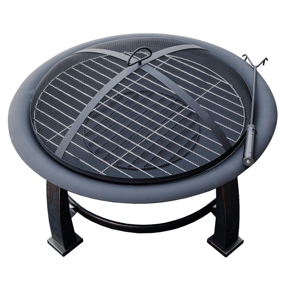 AZ Patio Heaters 30 in. Wood Burning Firepit in Black