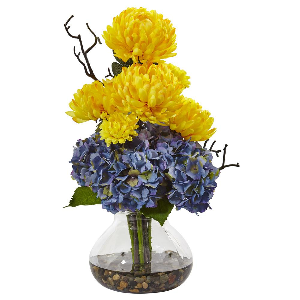 Nearly Natural 19 In Hydrangea And Mum In Vase In Yellow And Blue