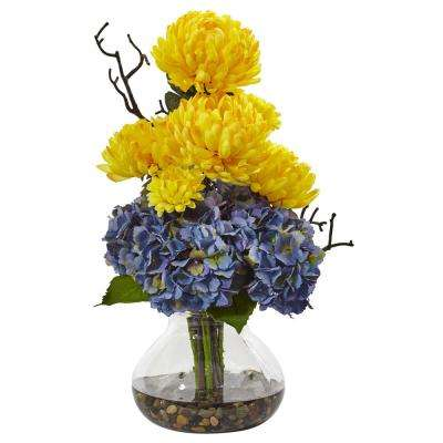 19 in. Hydrangea and Mum in Vase in Yellow and Blue