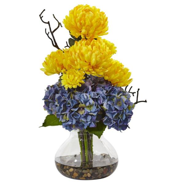 Nearly Natural 19 in. Hydrangea and Mum in Vase in Yellow