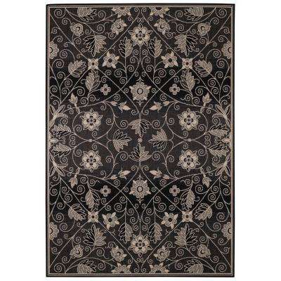Williamsburg Elsinore Garden Maze Ebony 5 ft. 3 in. x 7 ft. 6 in. Area Rug