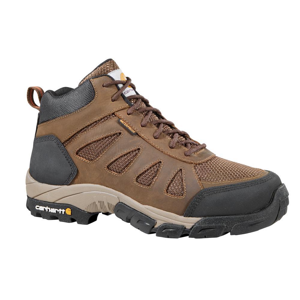 Carhartt Men's 08.5W Brown Leather and Brown Nylon Waterproof Soft Toe 4 in. Lightweight Work Hiker
