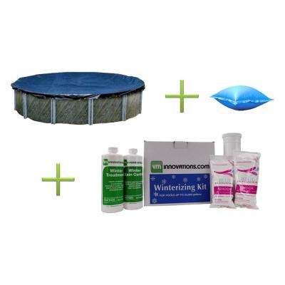 24 ft. Round Above Ground Pool Cover with 4 ft. x 8 ft. Air Pillow and Winterizing Kit