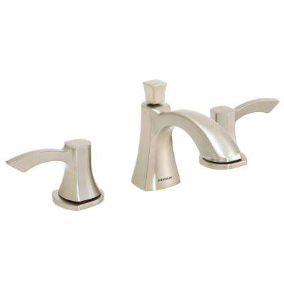 Tiber 8 in. Widespread 2-Handle Bathroom Faucet with Drain Assembly in Brushed Nickel