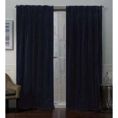 Velvet 27 in. W x 84 in. L Velvet Pinch Pleat Top Curtain Panel in Navy (2 Panels)