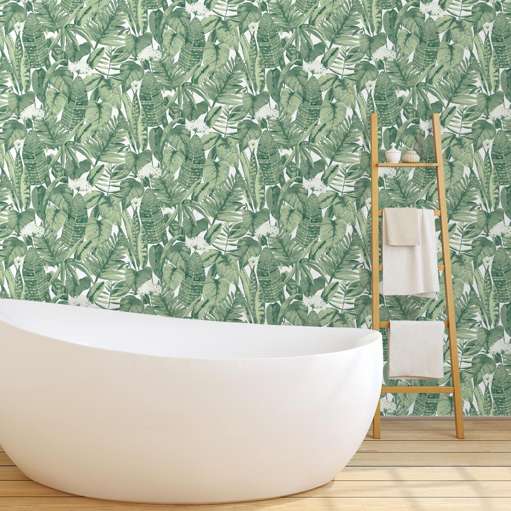 Tempaper tropical jungle green self adhesive removable for Home wallpaper jungle
