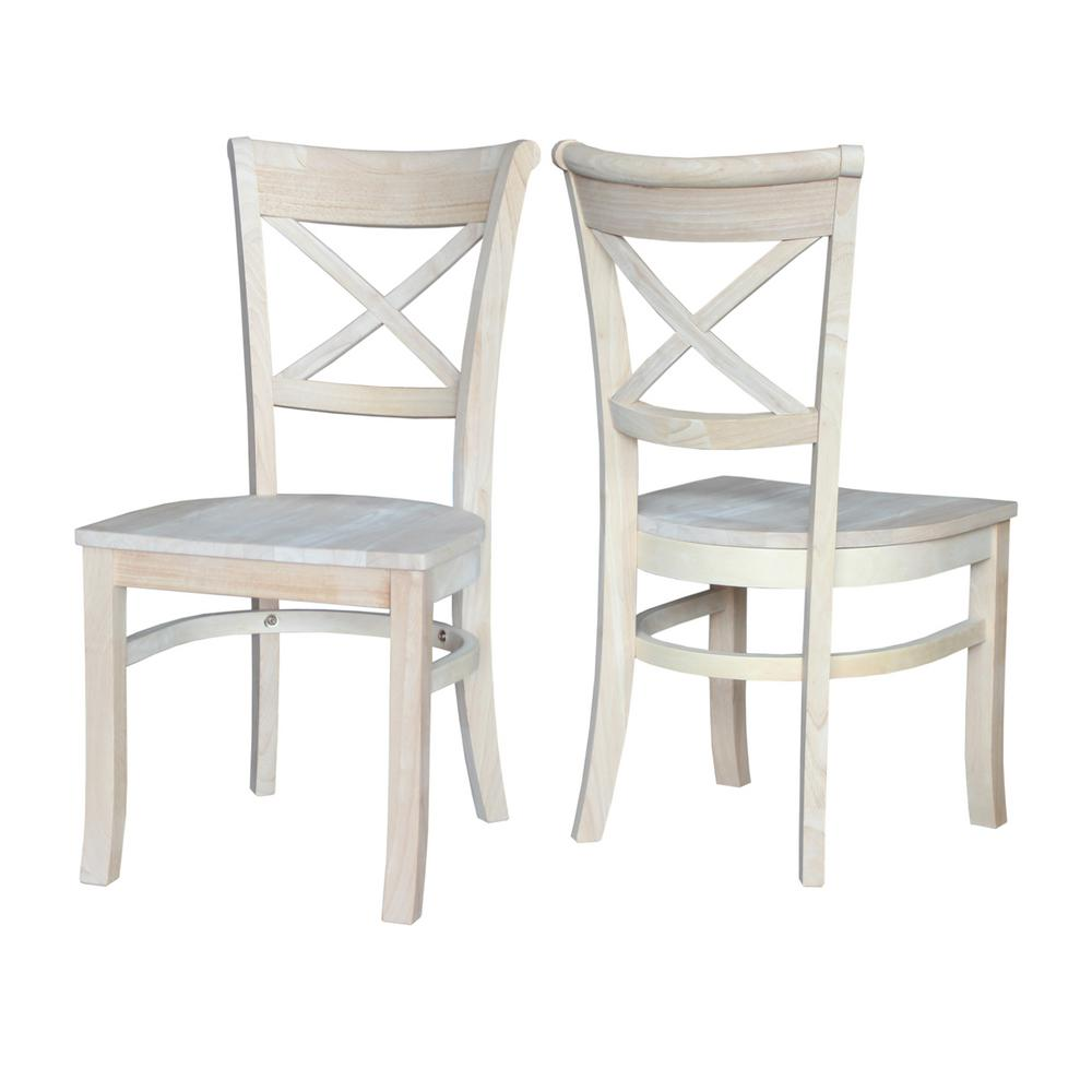 Charming International Concepts Charlotte Unfinished Wood Side Chair (Set Of  2) C 31P   The Home Depot