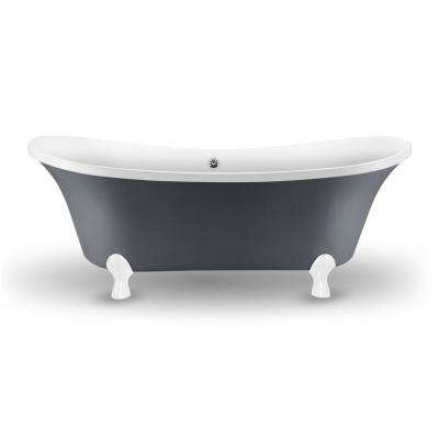 68 in. Acrylic Fiberglass Clawfoot Non-Whirlpool Bathtub in Grey