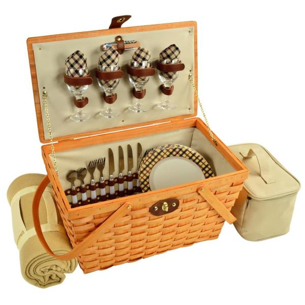 Settler Traditional American Style Picnic Basket for 4 with Blanket in