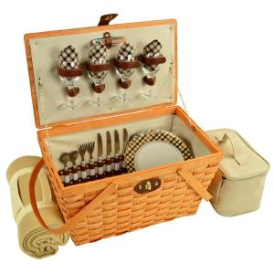 Settler Traditional American Style Picnic Basket for 4 with Blanket in London by