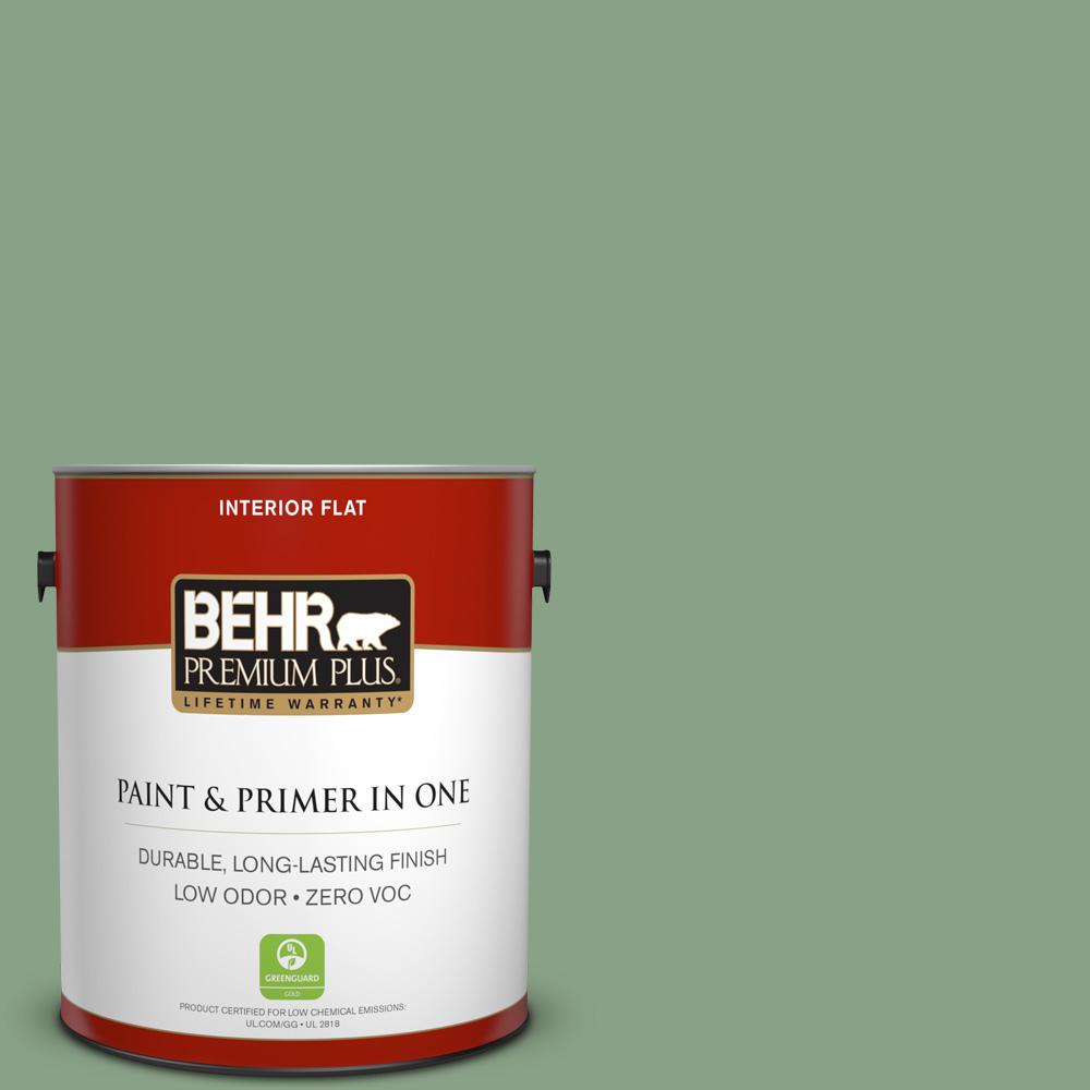 BEHR Premium Plus 1-gal. #S400-5 Gallery Green Flat Interior Paint