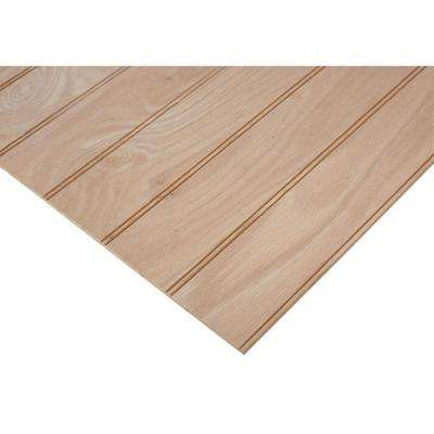 "1/4 in. x 2 ft. x 8 ft. PureBond Red Oak 3"" Beaded Plywood Project Panel (Free Custom Cut Available)"
