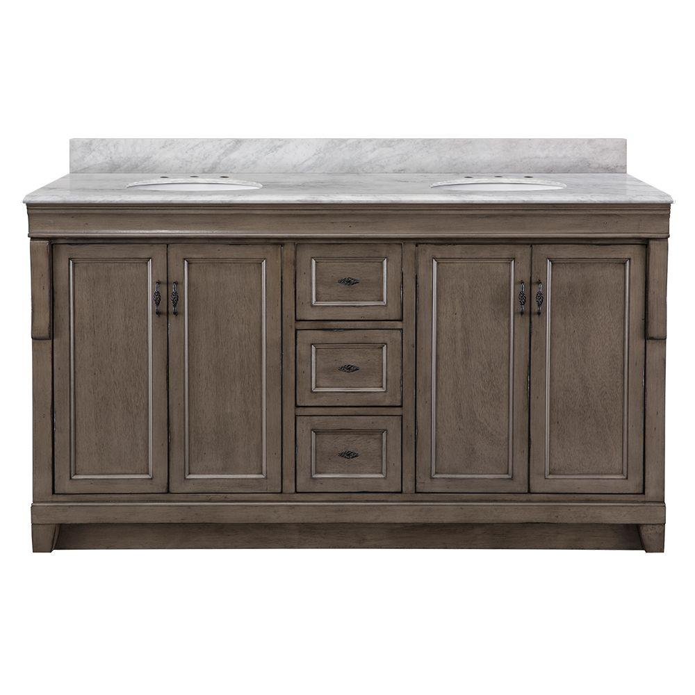 Home Decorators Collection Naples 61 in. W x 22 in. D Bath Vanity in Distressed Grey with Marble Vanity Top in Carrara White