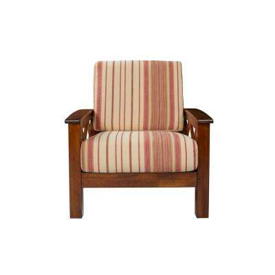 Virginia X-Design Cherry Arm Chair with Exposed Wood Frame in Red Stripe
