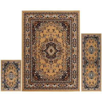 Ariana Sand 5 ft. x 7 ft. 3-Piece Rug Set