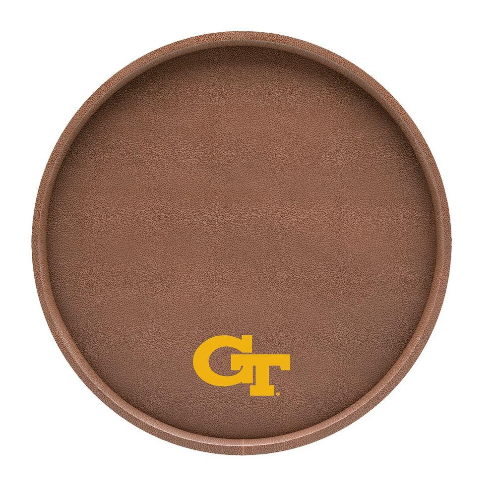 Kraftware Georgia Tech 14 in. Football Texture Deluxe Round Serving Tray