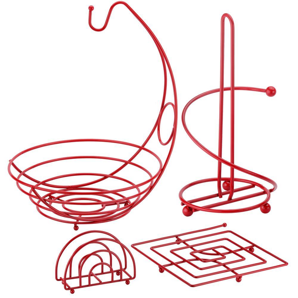 4-Piece Useful Kitchen Set in Red