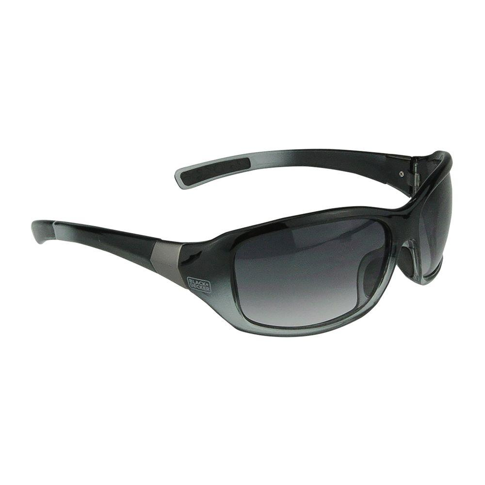 BLACK+DECKER Black Frame Smoke Gradient Lens Full Frame Fashion Safety Glasses The BLACK+DECKER BD224 are full frame fashion safety eyewear. They have bold, chic style, full frame protection and a lightweight, comfortable design. No-slip temple grips and soft rubber nose pads provide a secure comfortable fit.