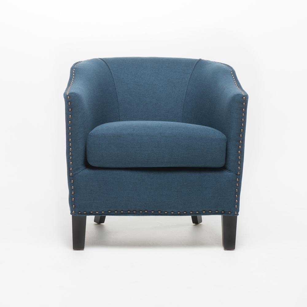 Noble House Austin Dark Blue Fabric Club Chair With Stud