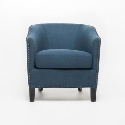 Austin Dark Blue Fabric Club Chair with Stud Accents