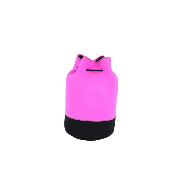 Offshore Drawstring 11.5 in. Pink and Black Bucket Tote
