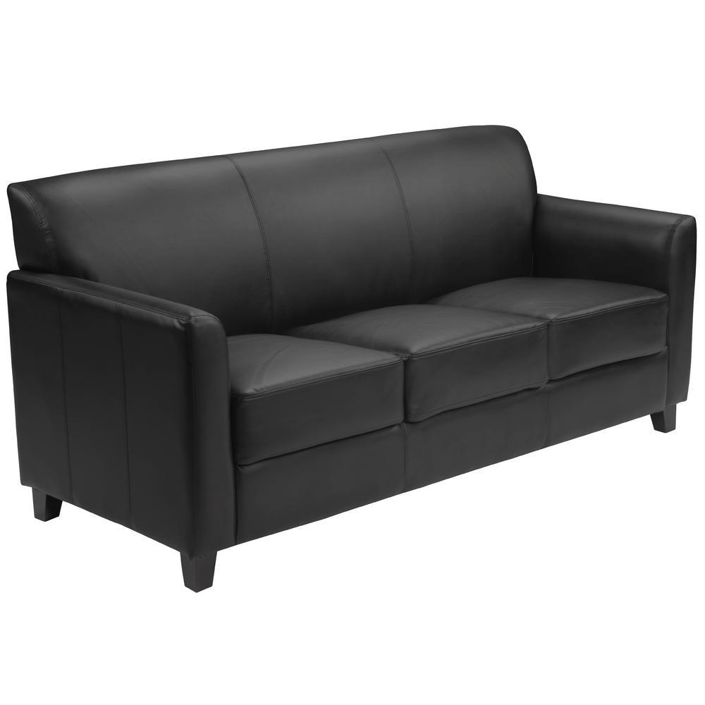 Flash Furniture Hercules Diplomat Series Black Leather Sofa BT8273BK ...