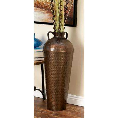 32 in. Old World Grecian Brown Metal Decorative Vase